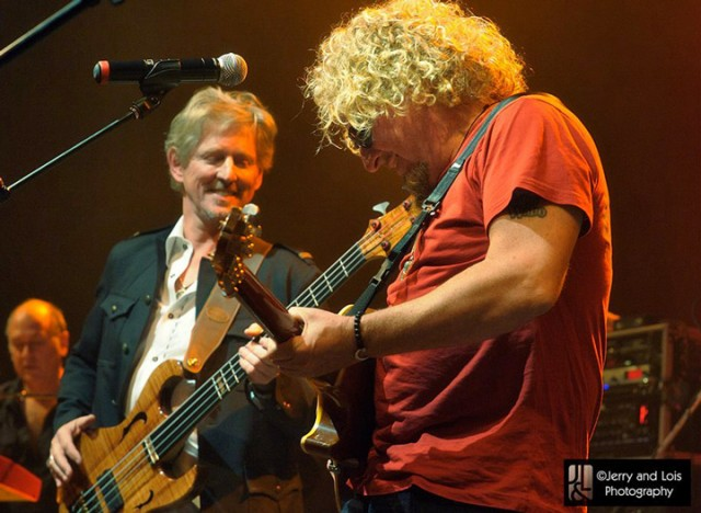 Bernt Bodal on stage playing his Fretted/Less Chambered MIDI bass with Sammy Hagar.